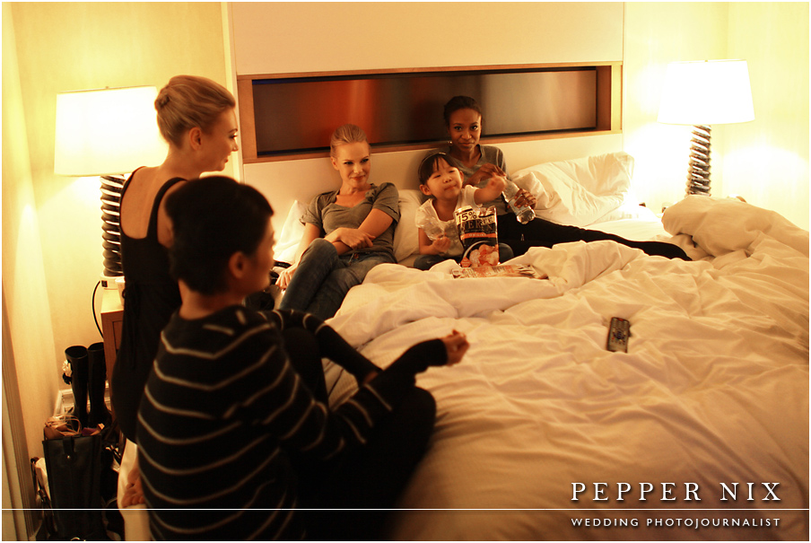 The models are tired after a long day.  We had fun catching up with them in the suite and telling stories about our days in New York.  Notice Alisha tucked in with the models as they all eat Cheetos!  I didn't know models could eat Cheetos!