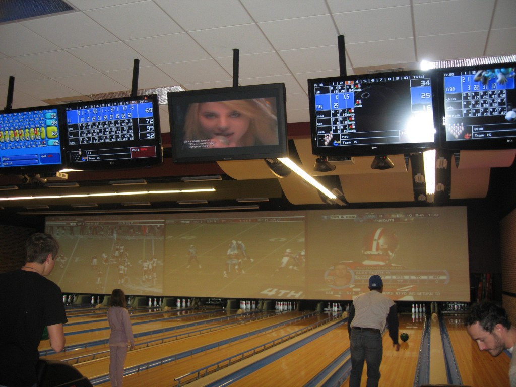 Enjoy music videos and football games on this screen.  It covers the length of 15 lanes!