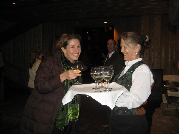 Deb Lewis from the Park City Visitors Center is greeted with a glass of wine