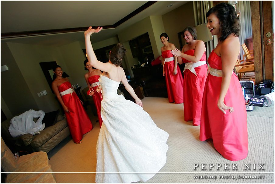Emily danced for her bridesmaids and she showed off the first look of her gown.