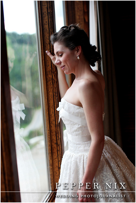 Strapless gown with bows.  This gown has silk raffia embroidery by Carmela Sutera
