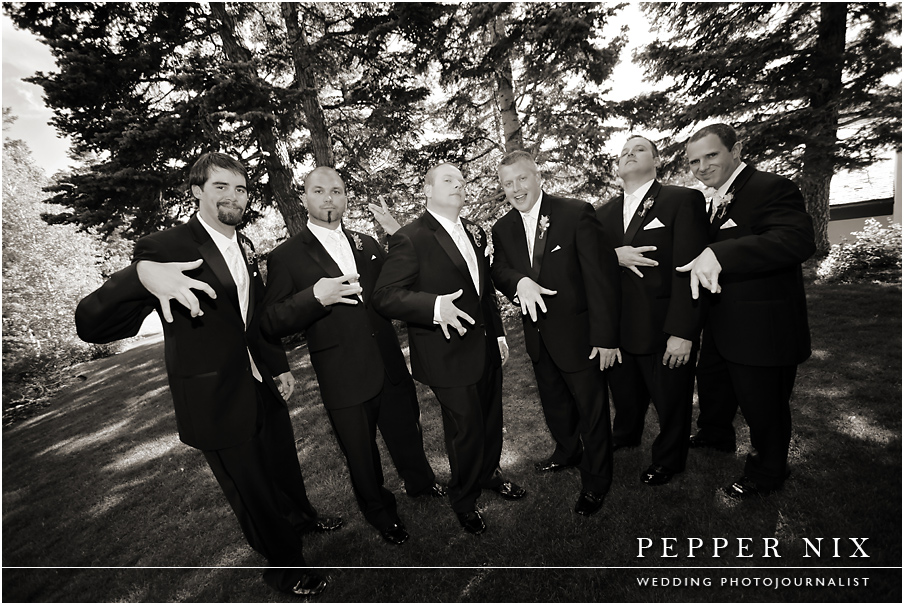 The men in the group have just as much personality as the bride.  What a fun group!