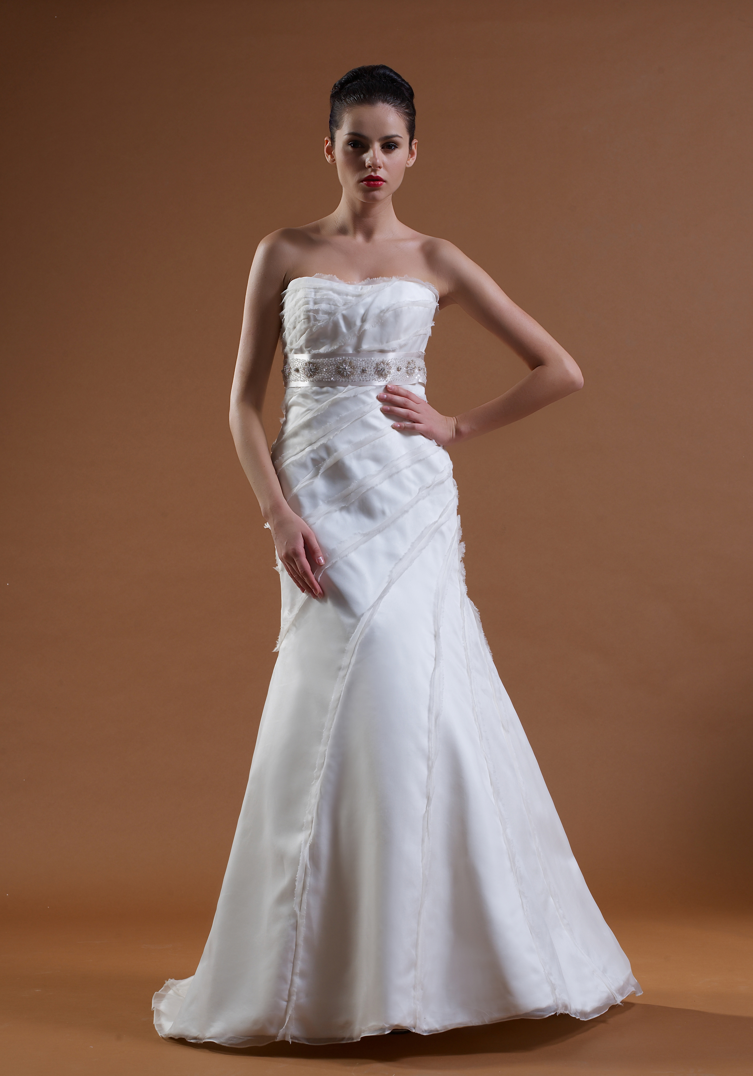 This beautiful A-Line gown features texture and suttle beading