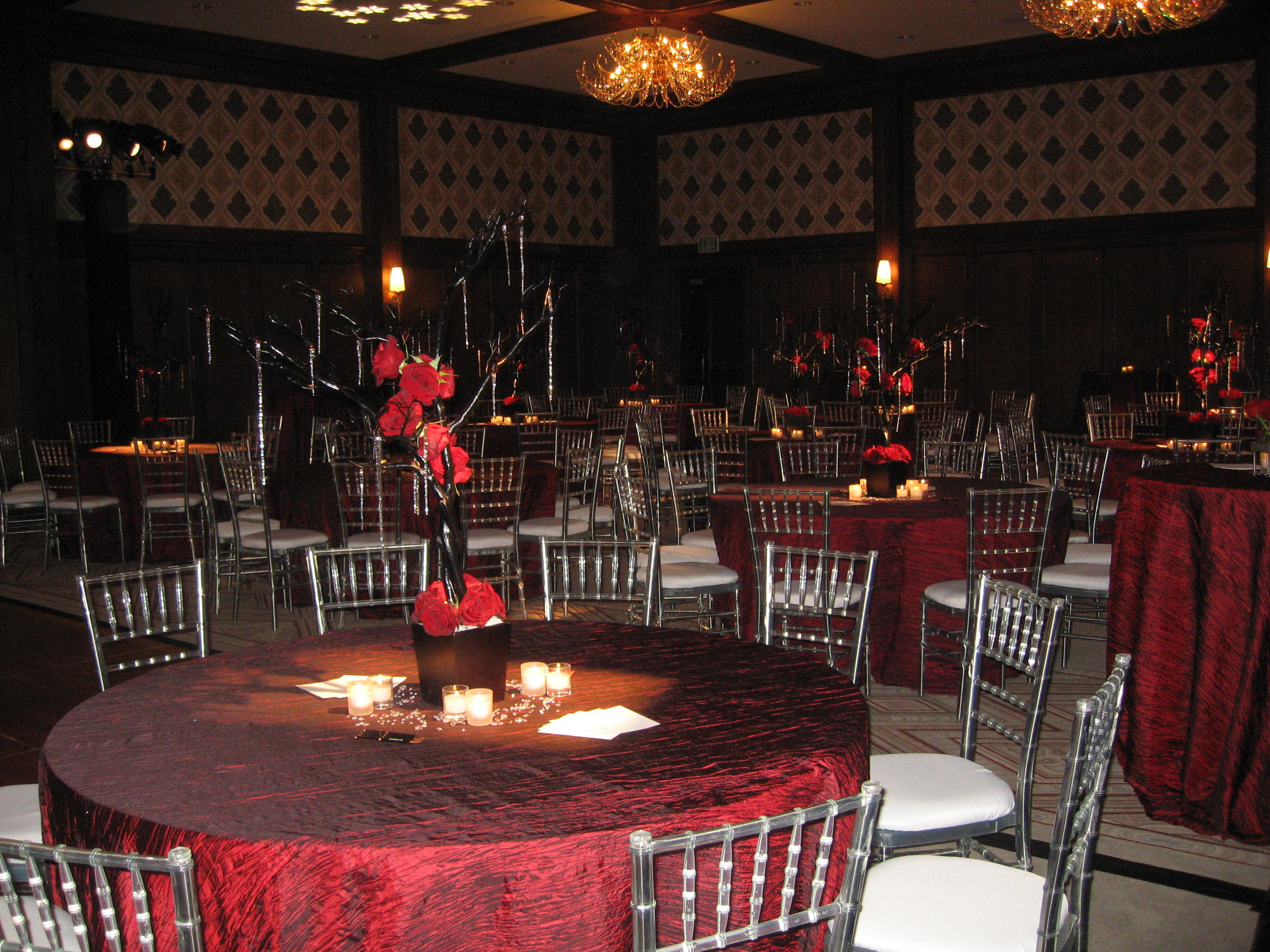 The ballroom was decorated for the Fire & Ice themed event