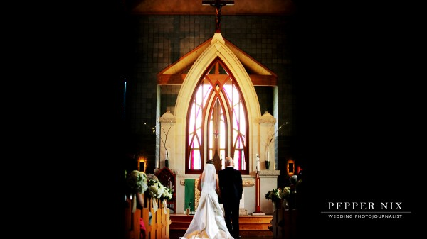 The bride and groom were blessed at the Church Altar