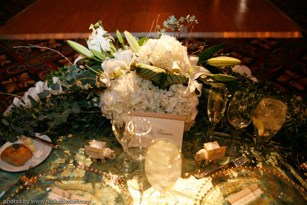 The sweetheart table was decorated with florals throughout