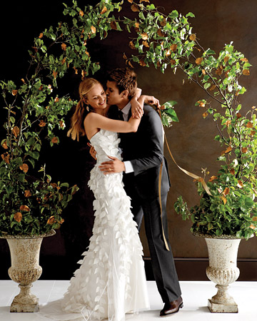 Carolina Herrera's gown; although not traditional was featured on the cover of Martha Stewart Weddings