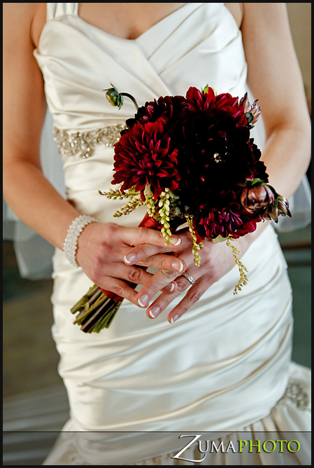 Burgandy Dahlias made up the bride's bouquet thanks to StellaPosy.